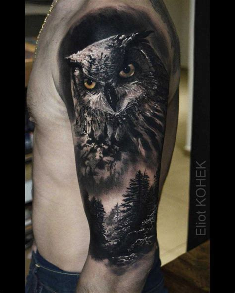 owl shoulder tattoo collection of 25 realistic owl on shoulder