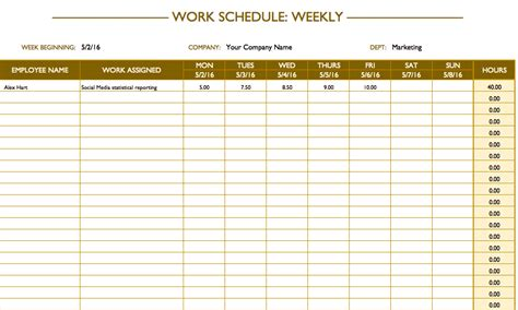 weekly work plan template excel free work schedule templates for word and excel