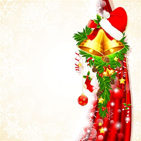 design background natal christmas background with bells and santa claus hat vector