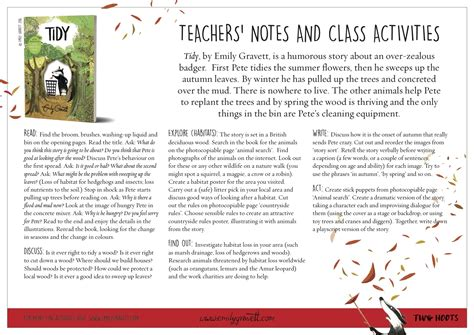 and activities emily gravett tidy teachers notes and activities