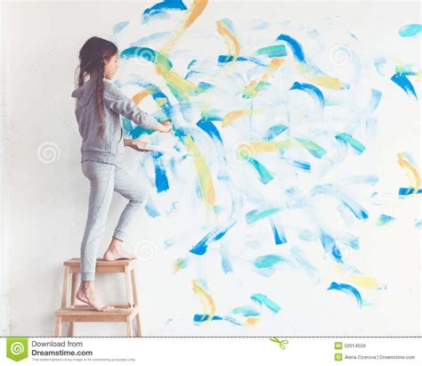 painting for child child painting wall stock photo image 52014559