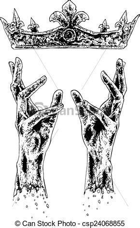 hands reaching  crown black  white illustration