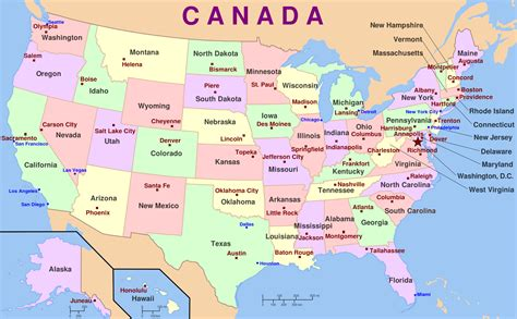 map of the united states and their capitals this map of the usa shows the fifty 50 states and their