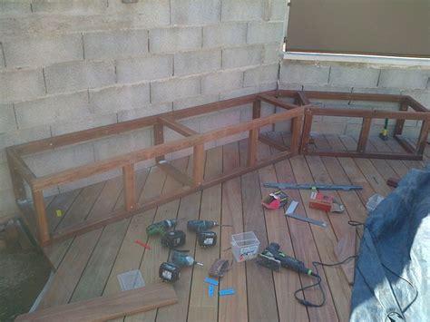 banc plan banc de rangement pour tour de piscine en bois exotique