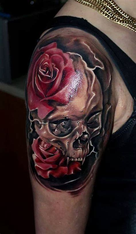 skull and rose tattoo for men 40 awesome skull designs