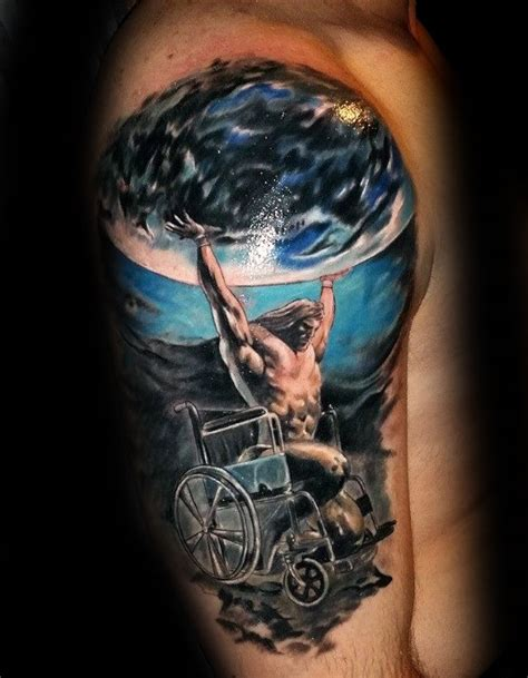 wheelchair tattoo designs 70 atlas designs for manly ink ideas