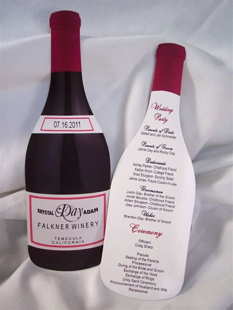 Wine Bottle Cutout Wedding Program Designs By Ginny Wine Bottle Invitation Template