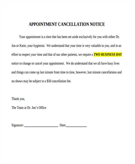 cancellation letter meeting 8 cancellation notice exles sles