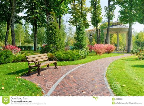 park with bench beautiful park with bench stock image image of park 49088401