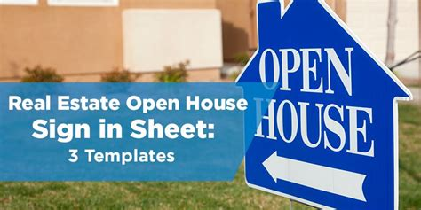 real estate open house sign in sheet template real estate open house sign in sheet templates 3 options
