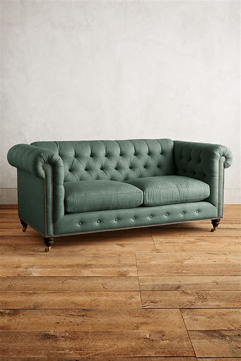 Turquoise Chesterfield Sofa Linen Lyre Chesterfield Sofa Hickory Legs Turquoise Mysmallspace