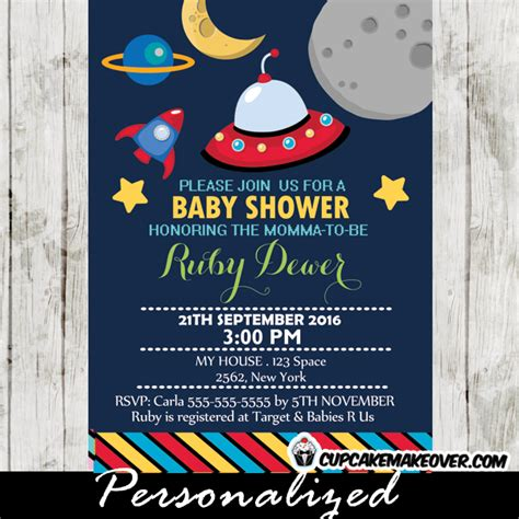 Space Baby Shower Invitations by Rocket Ship Baby Shower Invitation Personalized D3