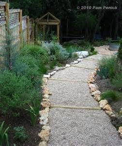 easy gravel path on a slope landscaping pinterest adobe stone walkways and gravel walkway