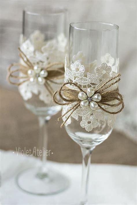 Wedding Glasses 15 lace toasting glasses lace toasting flutes flower chagne flutes vintage wedding