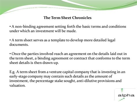 non binding term sheet template investment term sheets an overview