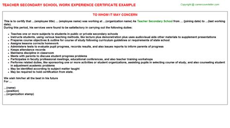 Work Experience Application Letter For School Secondary School Experience Letter Sle