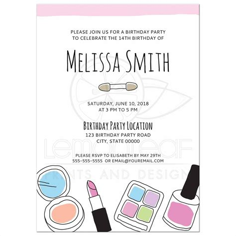 How To Throw A Backyard Party Makeup Birthday Party Invitations For Teenage Girls Doodle