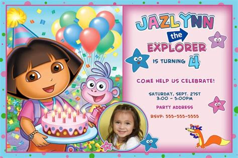 dora the explorer templates for invitations customized dora the explorer birthday invitation