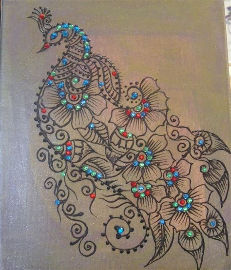 henna peacock on canvas embolished with crystals