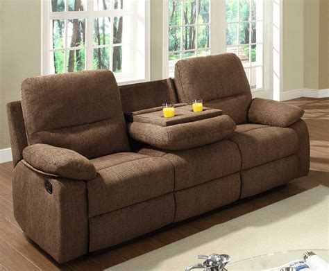 Fabric Reclining Sofas And Loveseats Reclining Sofa With Cup Holder Set And Console Table Made Of Canvas Linen Fabric In Brown