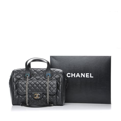 Chanel Style Quilted Bag by Chanel Calfskin Quilted Bowling Bag Black 203492