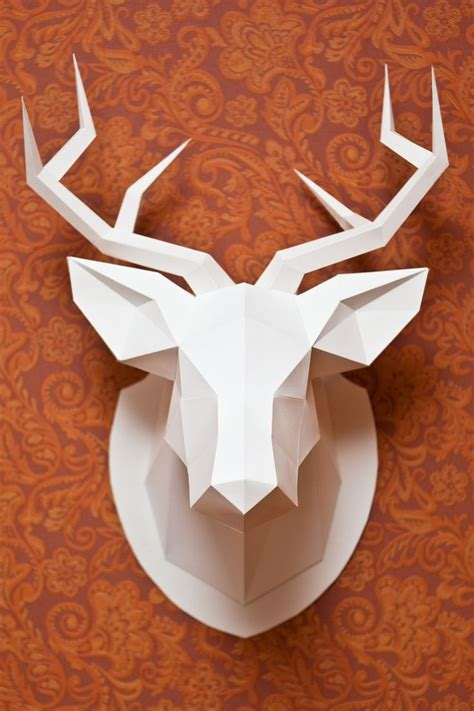 paper craft work 3d wall mounted deer decoration lioli furniture 3d