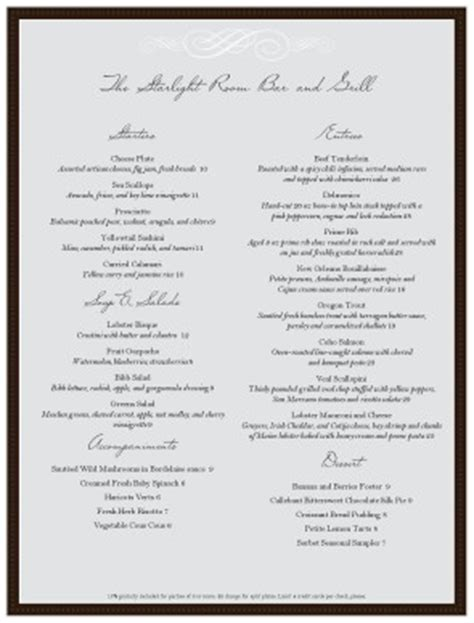 formal menu template customize formal dinner menu template