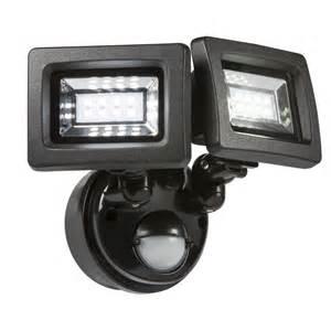 Solar Security Lights 2x 4 Watt Black Twin Spot Led Floodlight With Pir Sensor
