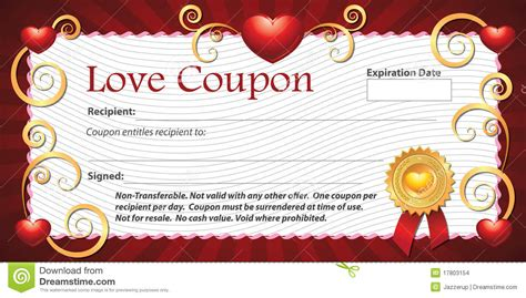 free printable love coupons templates blank love coupon stock images image 17803154