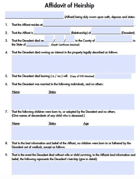 affidavit of heirship illinois template templates