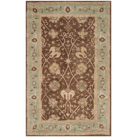 Green And Brown Area Rugs Safavieh Anatolia Brown Green 3 Ft X 5 Ft Area Rug An512f 3 The Home Depot