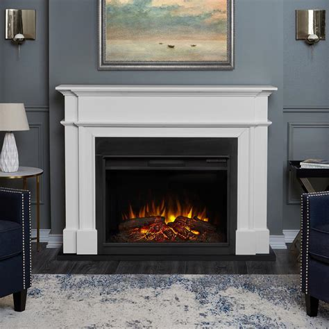 real harlan grand 55 in electric fireplace in white