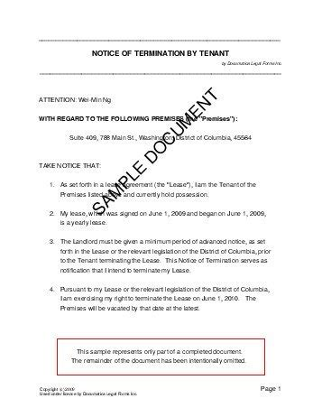 Lease Termination Letter In South Africa notice of termination by tenant south africa