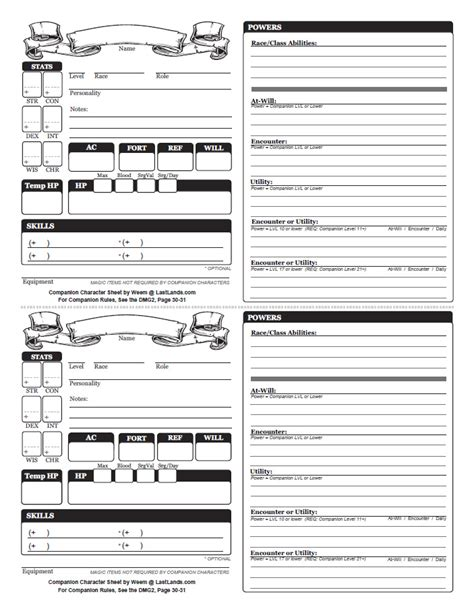 d d 4e card template 4e weem s 4e companion sheet v2