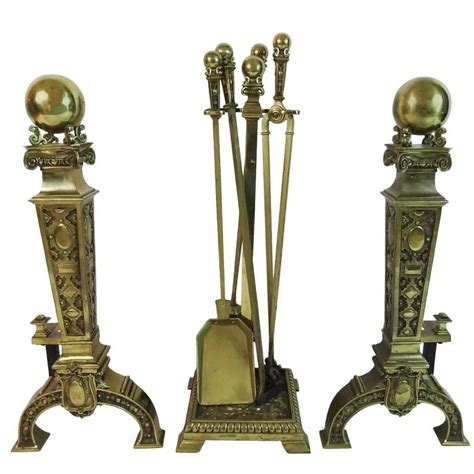 Fireplace Andirons by Early 20th C Andirons And Fireplace Tools At 1stdibs