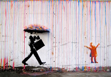 spray paint artist banksy picture of the day raining paint in 171 twistedsifter