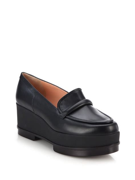 platform loafers lyst robert clergerie yokolo leather platform loafers in