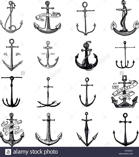 anchor engraved vintage in old hand drawn or tattoo style