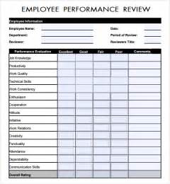 employee review form template free sle employee review template 7 free documents