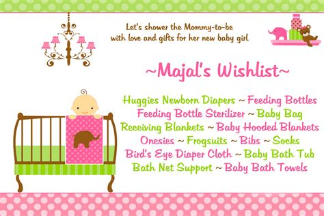 baby shower wish list sle celebrate preview majal s baby shower