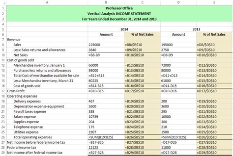 income statement analysis template excel vertical analysis horizontal analysis