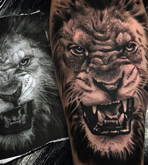 angry lion tattoo inkstylemag