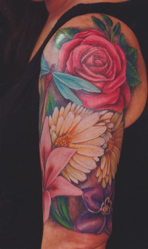quarter sleeve flower tattoo 286 best body art images on pinterest simple lion