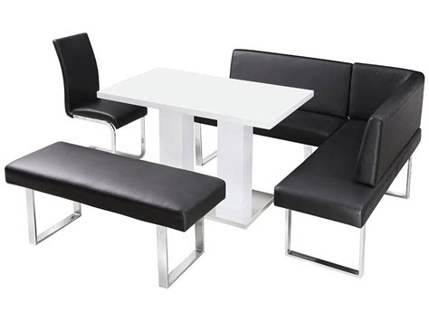high gloss dining table and chair set with corner bench
