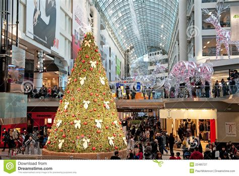 shopping mall decorated for christmas editorial