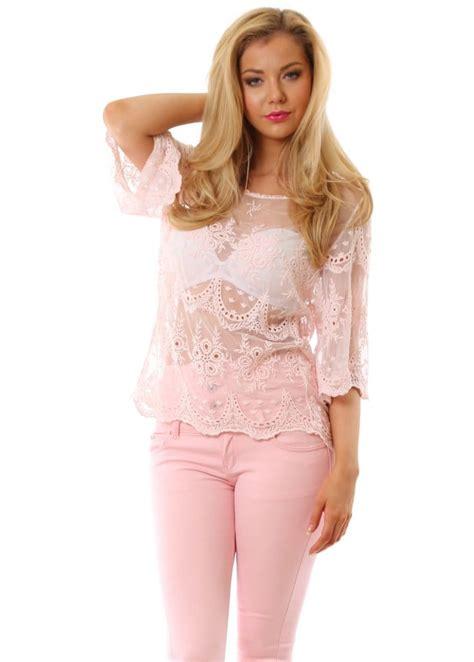 Ballony Top Baby Pink baby pink top baby pink crochet top pink crochet top