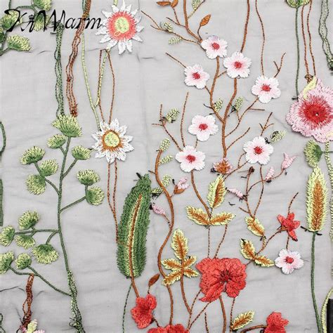 embroidered fabrics 1 yard flower plants lace fabric black tulle exquisite