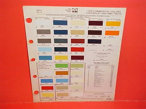 1978 chevrolet gmc truck paint chips color chart 78 73 87 gm trucks