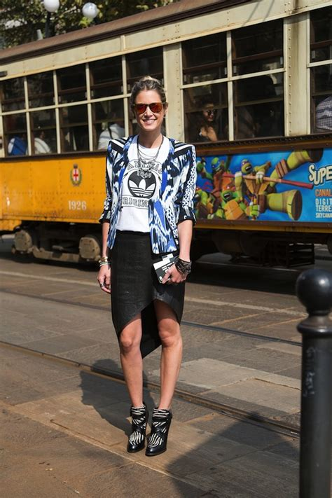 Mellan Fashion Adidas Turquise graphic tees and prints mixed 3 ways style inspiration from milan whowhatwear au