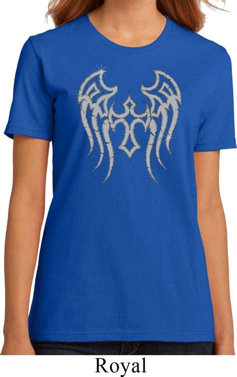 buy womens biker ladies biker shirt cross wings organic tee t shirt cross